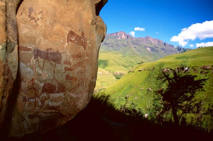 South Africa,Ancestral San Paintings,Ndedema Gorge,Drakensberg