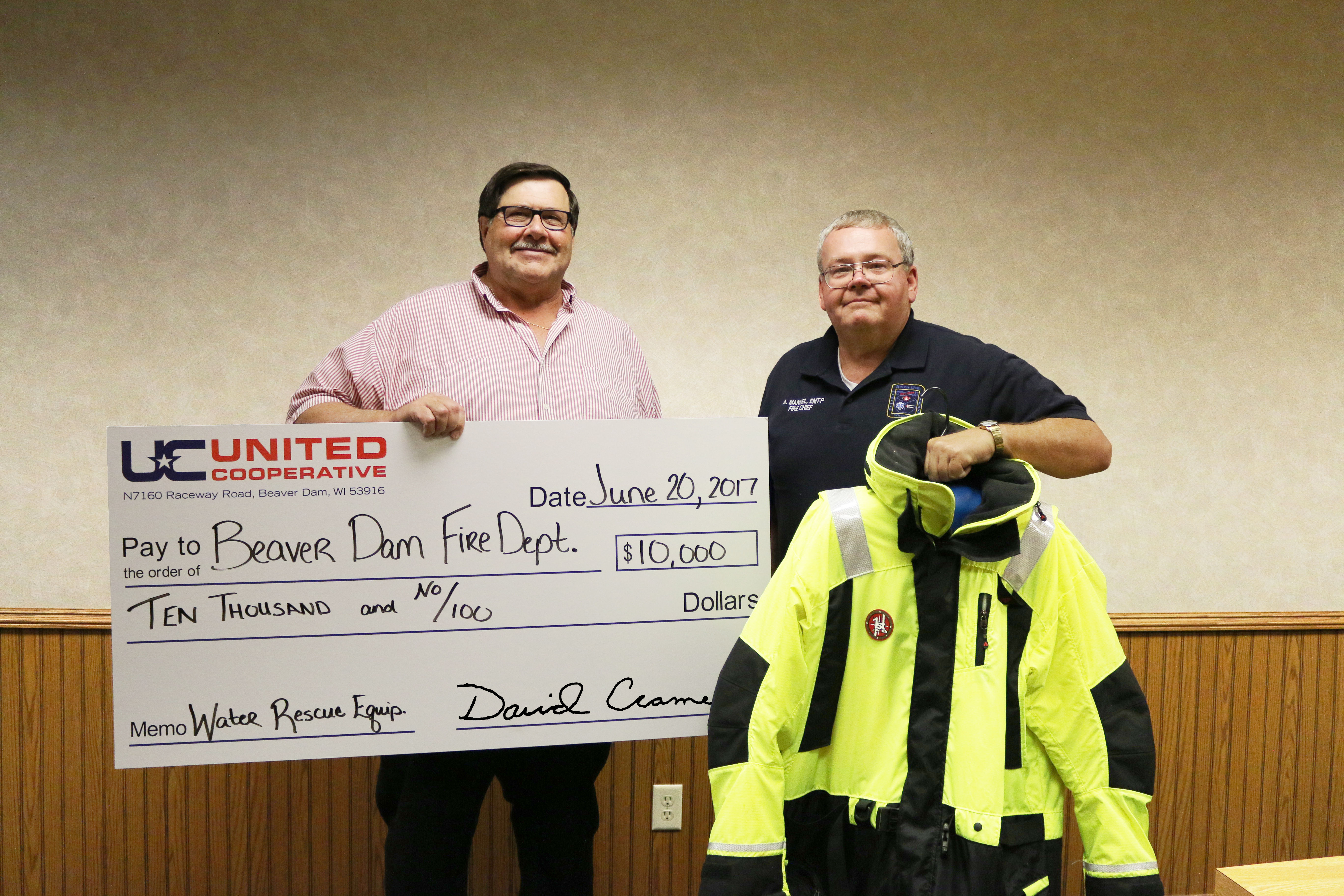 United Cooperative donates $10,000 to Beaver Dam Fire and Rescue