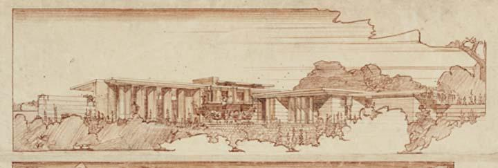 1936 37 Exterior Perspectives Colored Pencil On Paper Detail The Frank Lloyd Wright Foundation Archives Museum Of Modern Art