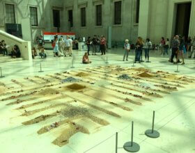 "Zahred Al Ghamdi, a Saudi Arabian artist, created an installation, ""Inanimate Village"" in the British Museum's Great Court. (photo: David Wheeler)"