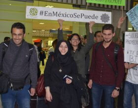 Three Syrian students arrive at the Mexico City airport. (Photo: Adrian Melendez)