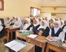 Female studends at a secondary school in Assiut (Photo: Tarek Abdel Galil).