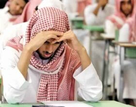 Secondary school students sit government school in Riyadh (Photo: Fahad Shadeed).