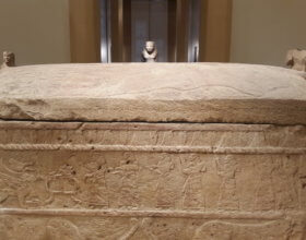 Sarcophagus with Phoenician writing. (Photo by: WikiMedia)