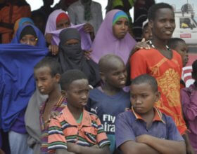 Students in Somalia attend an education event to discuss the education situation in Elwak town, southern Somalia on September 12, 2017.