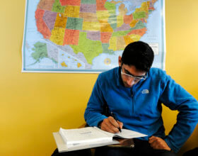 Saudi student at an English language class at the University of Colorado, Denver (Photo: Andy Cross, Getty Images).