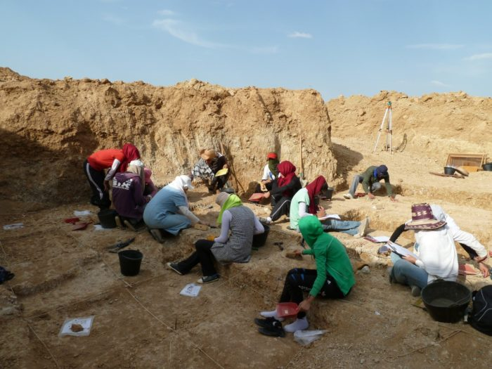 Researchers dig for artifacts at the excavation site in Algeria.