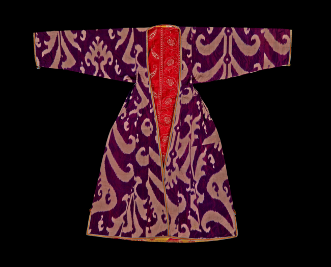 This Uzbek women's silk and cotton coat, with a Russian lining, from the 1870's to the 1920's, would have been worn at important occasions (Image: The Trustees of the British Museum).