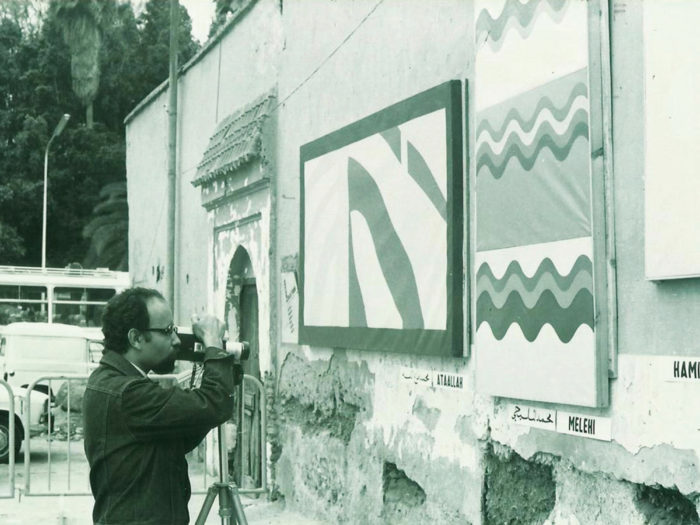 Mohamed Melehi, a Moroccan artist who established the radical art movement the Casablanca Art School from 1964 to 1974.