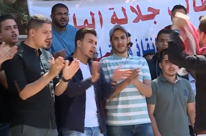 Jordanian students who have studied in Sudan protesting for a chance to study in their home country (Photo: Youtube).