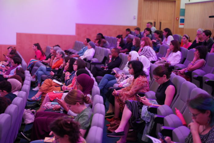 An attentive audience listened to a panel discuss new feminist writing at the Shubbak Festival (Photo: Merass Sadek).