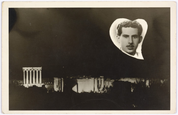 Double exposure on a postcard from Baalbek, Lebanon, 1960, by photographer Ibrahim Chamas (Photo: FAI Collection, courtesy of the Arab Image Foundation).