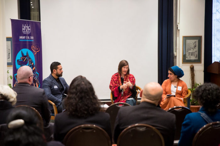 """Mohamed Elshahed, Marcia Lynx Qualey and N.A. Mansour talked about """"producing knowledge for the public."""" All three have created or edited online platforms (Photo: Mostafa Abdel Aty ARCE)."""