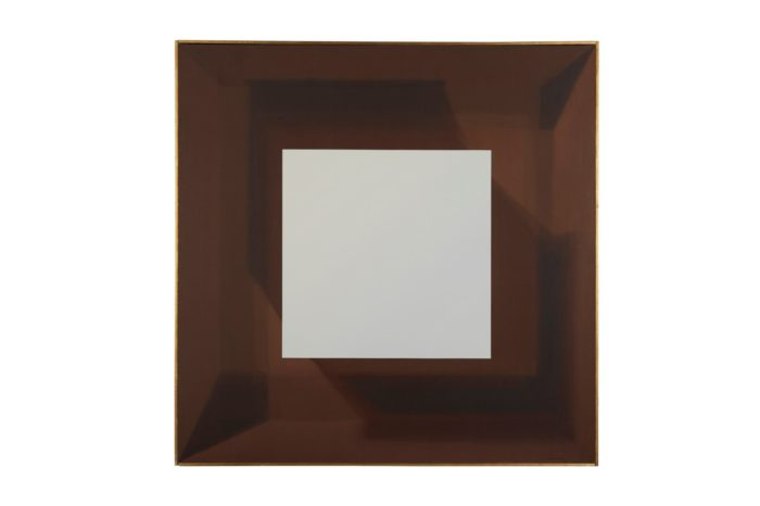 Samia Halaby, White Cube in Brown Cube, 1969, Oil on canvas, 48 x 48 in. (122 x 122 cm) (Photo: Barjeel Art Foundation).