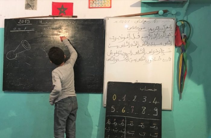 Classrooms once filled with Arabic writing are now supposed to be working in French. Only numbers and symbols haven't changed (Photo: Rachel Berets).