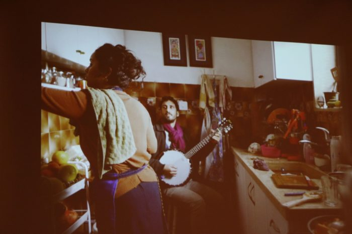 A photo from A Magical Substance Flows Into Me film (2015). The photo show an Arab-Isreal women sings Moroccan songs to show the attempt of preserving the history and the archive of music. (Photo: Asma Jawabreh / ARA Network Inc.)
