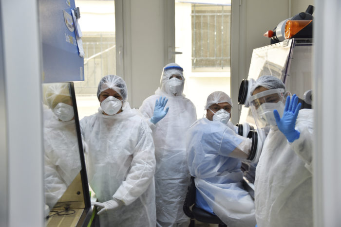 The Pasteur Institute Laboratory in Tunis, one of the labs in Tunisia doing Covid-19 testing, is processing more than 300 tests a day, both from at-home swabbing kits and from local doctors (Photo: Jdidi Wassim/Sipa via AP Images).