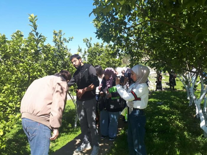 Students visit Al-Balqa Applied University's wastewater management demonstration site, where lemon trees are irrigated with treated wastewater (Photo: Al-Balqa Applied University).