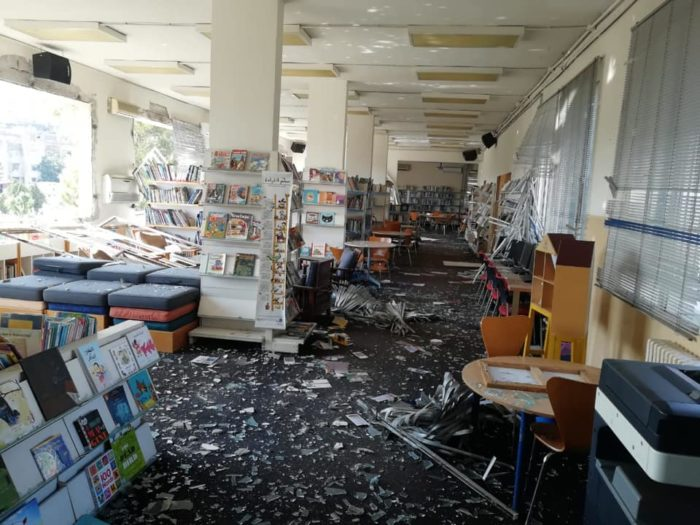 Damage at one of the municipal libraries, which are all located near the explosion site. More than 100 school libraries, university libraries and other collections were also affected by the blast (Photo courtesy of Assabil Association).