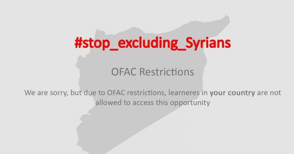 U.S. sanctions block companies like Coursera and Duolingo from offering their services in Syria. An online petition seeks an exemption from the sanctions for educational services (Image: Stop Excluding Syrians campaign).