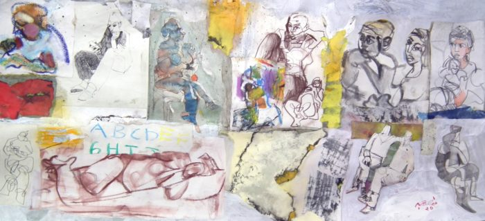Beirut and the People, 2020, mixed media on paper, by the Lebanese painter and printmaker Mansour El Habre (Photo: Courtesy of the artist).