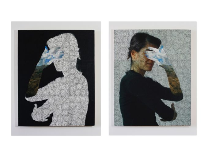 """Two panels from the """"Invisible Memories"""" series by Iranian artist Sepideh Salehi. Photography and collage installed on wood panel with frottage on mulberry paper (Photos: Courtesy of the artist)."""