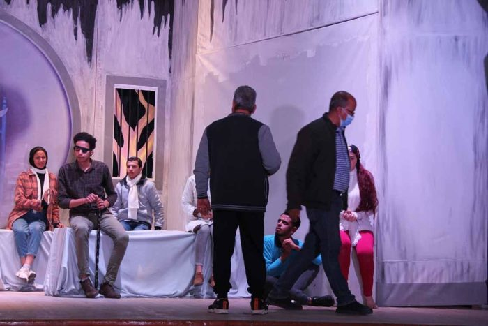 The theater team at Assiut University rehearses Blindness, a stage adaptation of the novel by José Saramago (Photo: Assiut University).