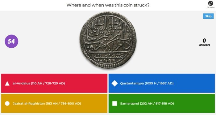 Screenshot of a student-designed Kahoot game with a question about an old coin.