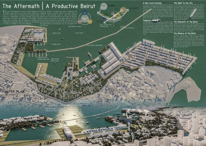 """""""The Aftermath—Productive Beirut,"""" designed by a team of four Palestinian architects, was the first-place winner of the Phoenix Prize, presented by the Palestinian nonprofit organization iDAR-Jerusalem."""