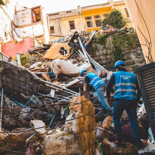 A construction team with Live Love Beirut visits a damaged site (Photo courtesy of Live Love Beirut).