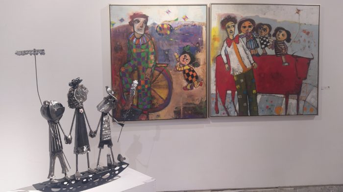 The circus and childhood are themes in paintings by Shaaban Al-Husseini and a sculpture by Nevine Farghali.