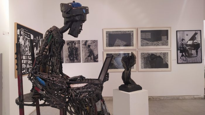 Sculpture made of iron and scrap metal by the artist Ammar Shiha