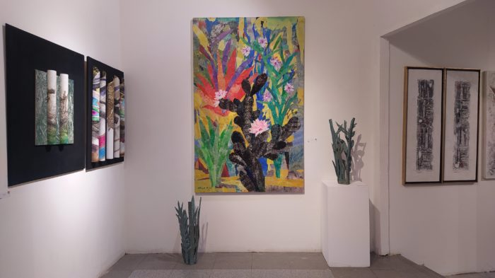 A painting and sculptures inspired by the cactus plant, by Mohamed Abla