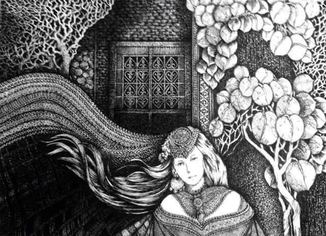 A young woman within an ivy-covered enclosure, which symbolizes her imprisonment in her rural region despite her beauty and good life.