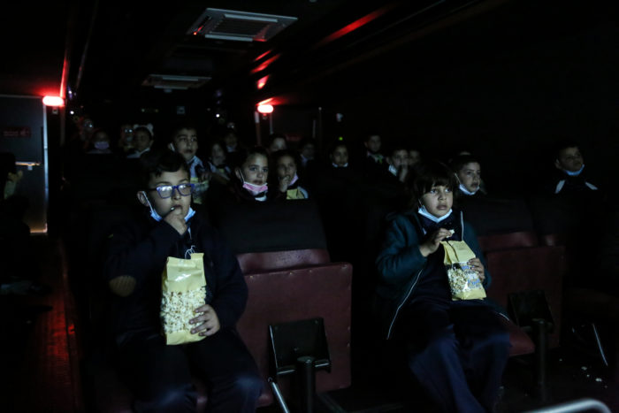 The bus gives young Gazans an experience unavailable elsewhere in Gaza, where cinemas have been closed since 1987.