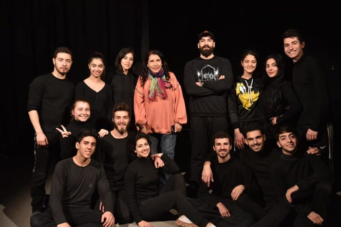 The cast and crew of a production at the Higher Institute of Dramatic Arts, in Damascus.