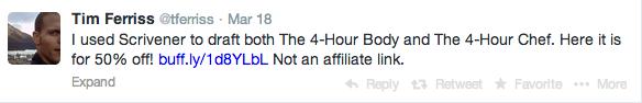 Tim Ferriss' tweet about Scrivener