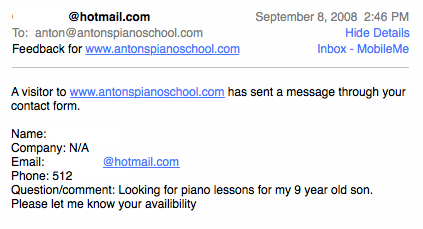 Someone contacting me for piano lessons
