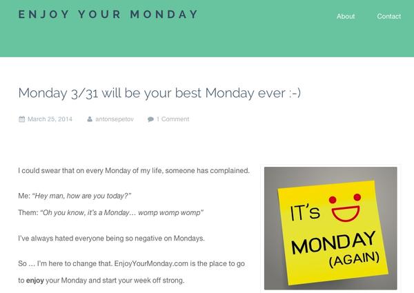 My new blog EnjoyYourMonday