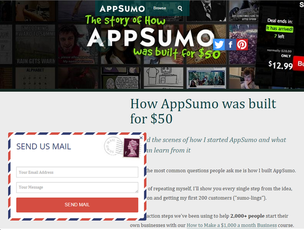 Contact Form on AppSumo