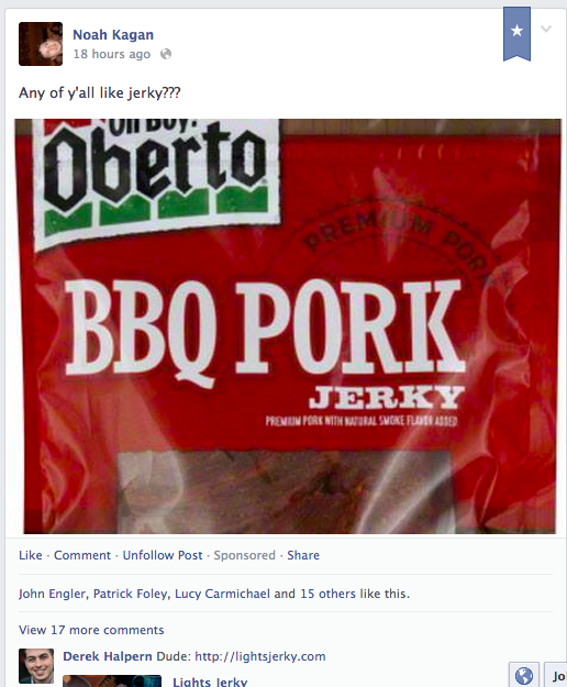 My Facebook post about jerky