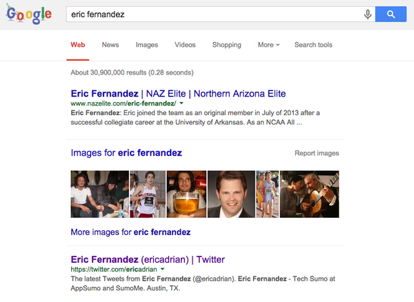 Eric's Google results