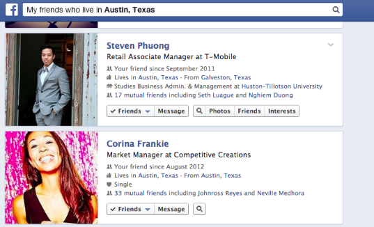 Finding my friends on Facebook who live in Austin