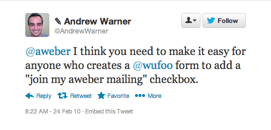 Andrew's Tweet about Wufoo and Aweber