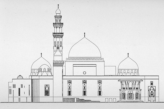 King Saud Mosque B Amp W Drawing West Elevation Archnet