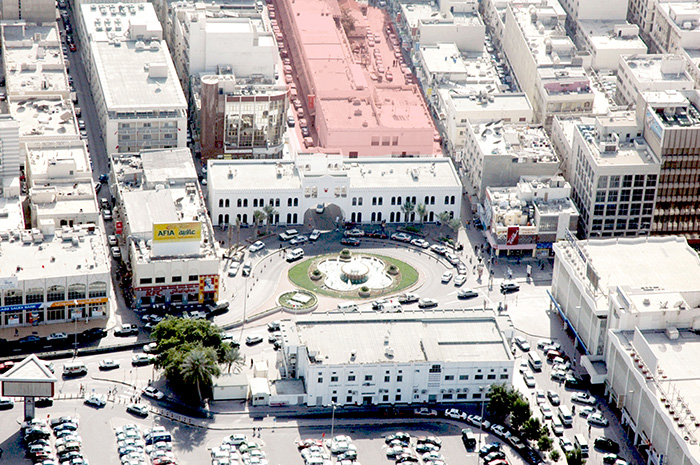 Souq Bab Al Bahrain | Before construction: aerial view showing gate