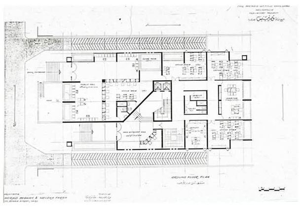 Office Building Floor Plans: B&W Drawing, Ground Floor Plan