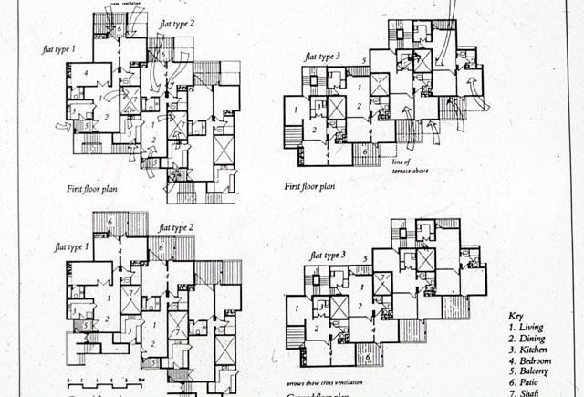 Yamuna Apartments | B&W drawing, floors' plan | Archnet