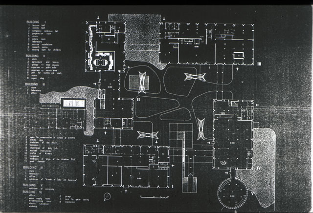 Kuwait National Museum | B&W drawing, site plan | Archnet
