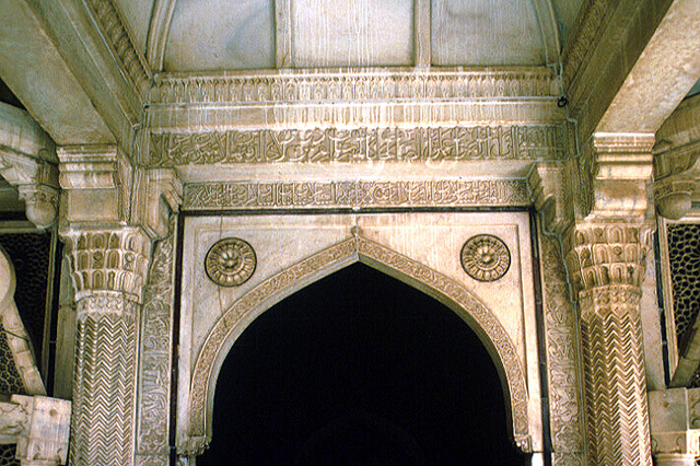 Interior view of south entrance showing pointed-arch doorway